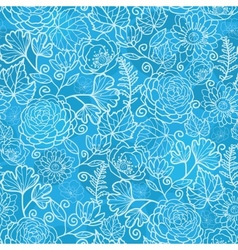 Blue field floral texture seamless pattern vector image vector image