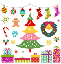 christmas party decoration gift set vector image vector image