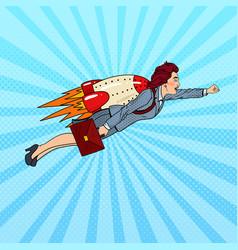 pop art business woman flying on rocket vector image vector image
