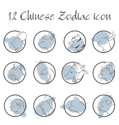 12 chinese zodiac sign icon in circle shape vector image