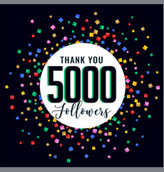 5000 social medial followers thank you background vector