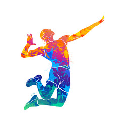 Abstract volleyball player vector