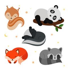 adorable flat sleeping animals set vector image