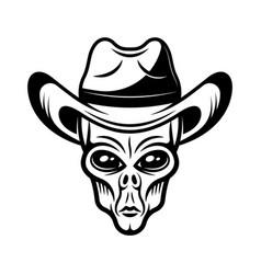 Alien head in cowboy hat in vector
