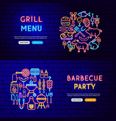 barbecue neon banners vector image