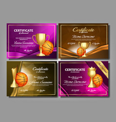 basketball game certificate diploma golden cup set vector image