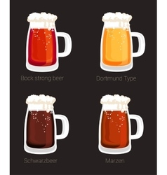 beer mug or glass goblet isolated icons vector image