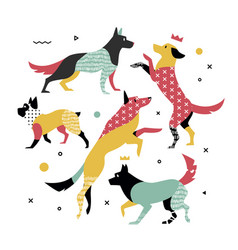 bright simple print of 5 dogs vector image