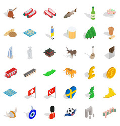 british flag icons set isometric style vector image