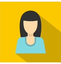 Brunette girl icon flat style vector
