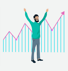 businessman and growth graph successful vector image