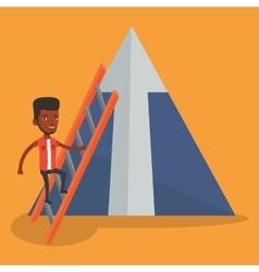 Businessman climbing on mountain vector
