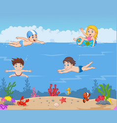 cartoon kids swimming in the tropical ocean vector image