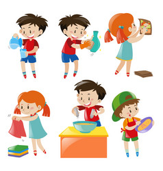 Children doing different things vector