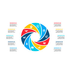 Circle element for infographic with 10 options vector