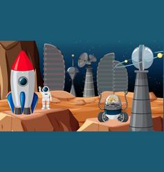 City in space scene vector