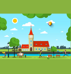 city with church river and people in park sunny vector image