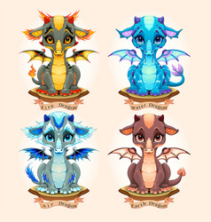 Collection four natural element baby dragons vector