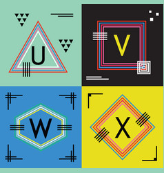 colorful line capital letters u v w and x emblems vector image