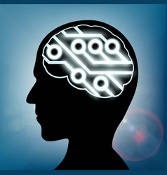 computer circuit inside the human head vector image