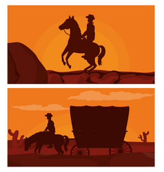 Cowboy on horse silhouette vector