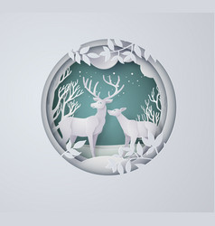Deer in forest with snow in winter season vector