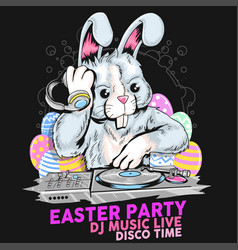 easter dj music party rabbit vector image