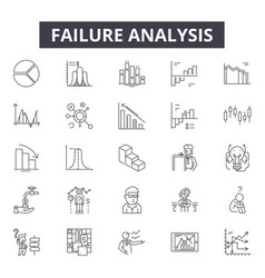 Failure analysis line icons signs set vector