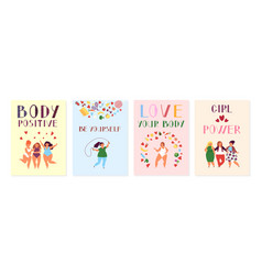 Female positive cards positivity posters women vector