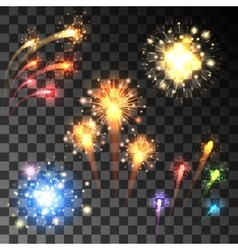 Festive bursting firework set vector image