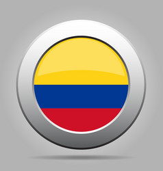 Flag of colombia shiny metal gray round button vector