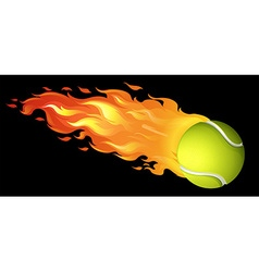 Flaming tennis ball on black vector