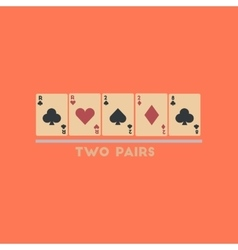Flat icon stylish background poker two pairs vector