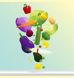 flying fresh vegetables concept healthy food vector image