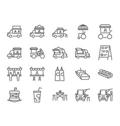 Food truck icon set vector