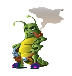 Funny caterpillar with revolver smoking pipe vector