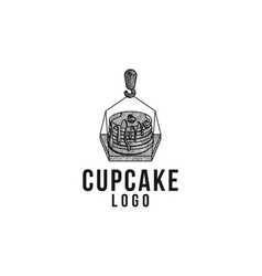 hand drawn melted cupcake and crane logo designs vector image