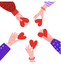 Hands in circle with hearts friendship concept vector
