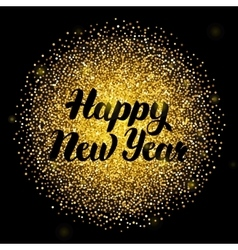 Happy New Year Lettering over Gold vector image