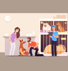 Homeless animals people in shelter with pet cats vector