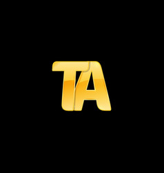 Initial letter ta with red metallic texture vector