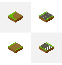 Isometric road set of pedestrian footpath vector