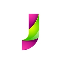 J letter green and pink logo design template vector image