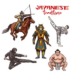 Japanese martial arts sketch warriors or fighters vector