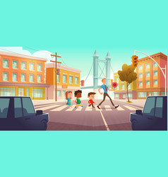 Kids crossing city crossroad with traffic lights vector