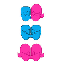 kiss free lover set icon sign lgbt kisses guy and vector image