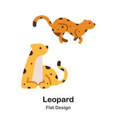 Leopard flat icon vector