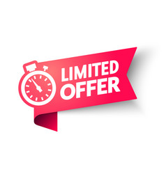 Limited offer banner with clock for promotion vector