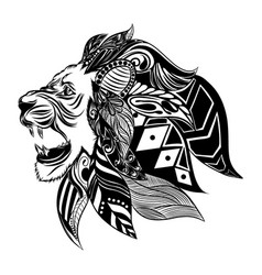 lion head with beautiful ornament vector image