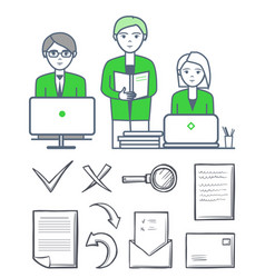 male smart people working together set vector image